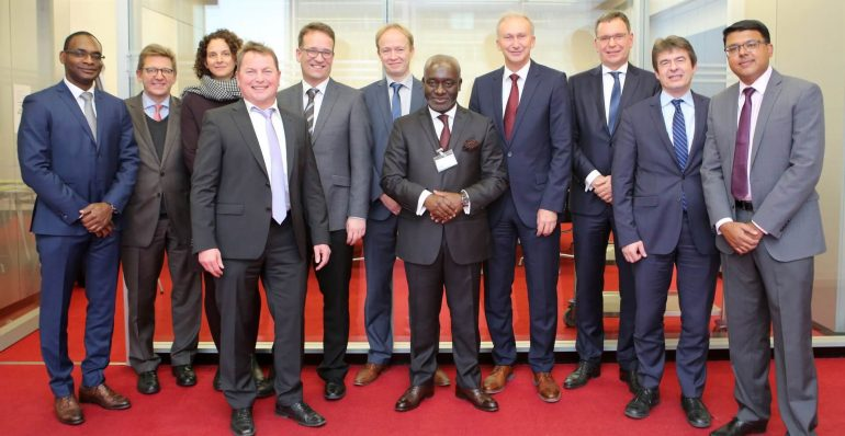 A photo of African Guarantee Fund CEO Felix Bikpo and KfW develpment bank representatives